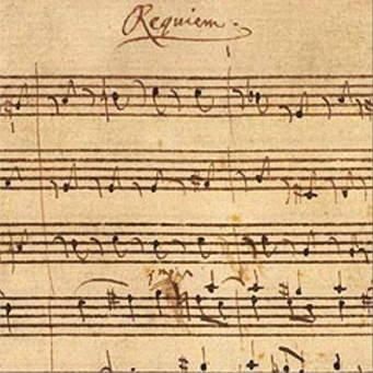 Deel van de partituur van Mozart