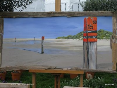 Strandmarkering - werk van Inge de Groot