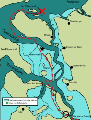 Route van de Spaanse vloot in aanloop tot de slag