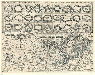 Afbeelding van alle Nederlandse vestingsteden die in 1672 veroverd werden