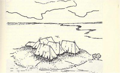 Afbeelding van een tijdelijk bewoonde terp
