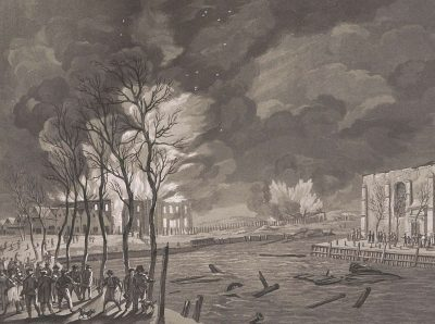 Afbranden van 's Lands Zeemagazijn na de aanval van de Engelsen 1809
