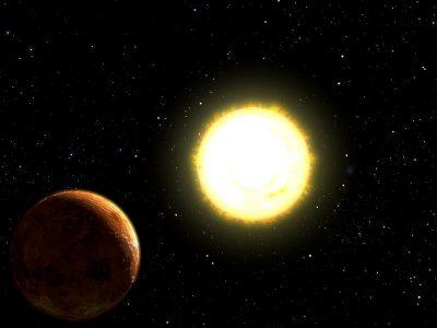 Artist impressie van 55 Cancri e - Planeet Janssen