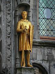 Beeld van Philips van de Elzas in de kerk van Brugge