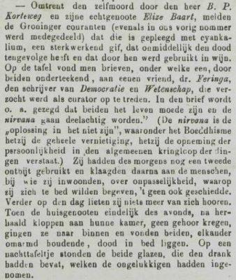 Bericht over de zelfmoord van Baart en Korteweg in de Goesche Courant van 18 oktober 1879, pag. 2. Voor uitgebreid artikel zie Krantenbank Zeeland (2)