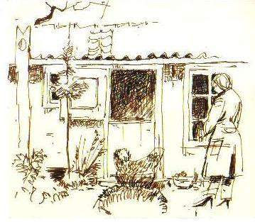Boerin bij haar huisje