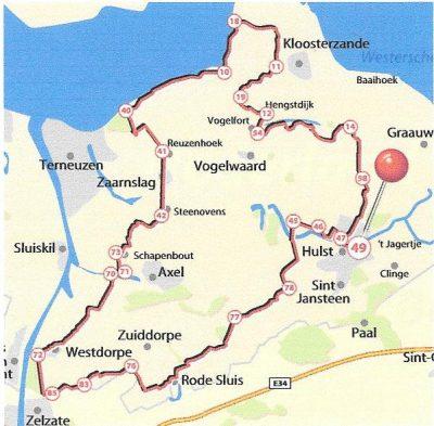 Bollen fietsroute over Zeeuws-Vlaanderen