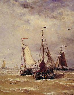 Bomschuiten aan het vissen - Schilderij van Mesdag