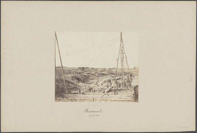 Bouw van de sluis te Hansweert 1869 - afbeelding C.W. Bauer, Beeldbank Nationaal Archief.