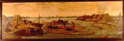 Darinck Delven of moer-nering, schilderij uit ~1540 waarin de verschillende stadia van de moernering te zien zijn. Stadhuismuseum Zierikzee