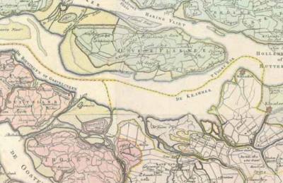 De Krammer en het Volkerak op een kaart uit 1773