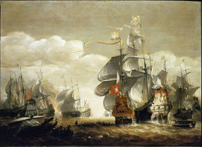 De Slag bij Lowesoft geschilderd door Van Minderhout