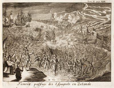 De Spaanse vloot onder leiding van de Mondragon