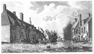 De Vlissingse Palingstraat na de vloed van 1808