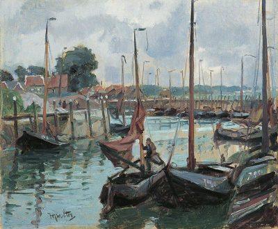 De haven van Tholen - Detail van een schilderij van Hendrik J. Wolter