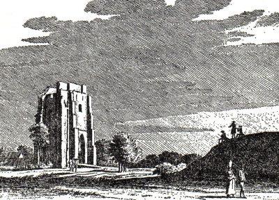 De kerktoren van Westschouwen, gravure uit 1743