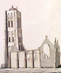De ruïne van de kerk na de brand in 1831