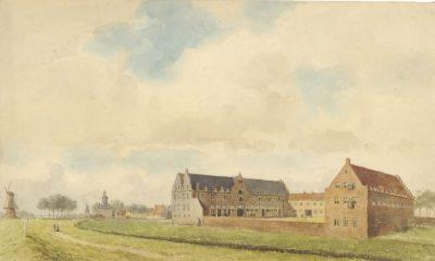 De voormalige pakhuizen van de WIC aan de Kousteensedijk te Middelburg, aquarel van J.F. Schütz, 1867, collectie KZGW ZI II-0470