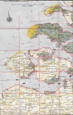 Detail van de kaart van de overstroomde gebieden.