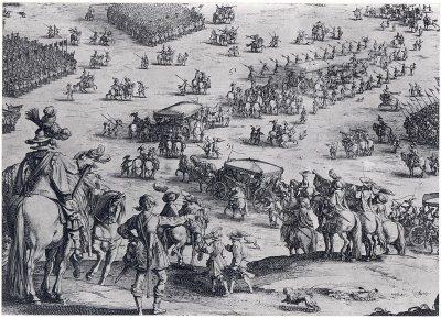 Dit detail van Le Siège de Bréda door Jacques Callot laat de opmars van het Spaanse leger zien.