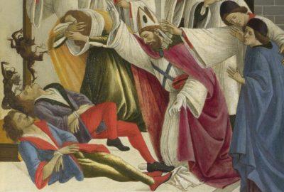 Duiveluitdrijving - detail van de drie wonderen van de heilige Zenobius - Sandro Botticelli
