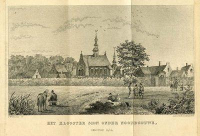 Een gravure van het klooster van Sion
