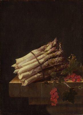 Een van zijn stillevens met asperges en aalbessen