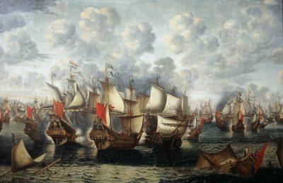 Eerste fase van de Zeeslag in de Sont 8 November 1658 door Jan Abrahamsz Beerstraten, 1660