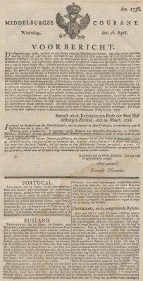 Eerste uitgave van de Middelburgsche Courant