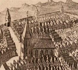 Fantasieprent van Westkapelle omstreeks 1500