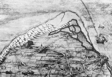 Fragment van de kaart van Christiaan sGrooten van Zeeland uit 1573 met daarop aangegeven het dorp 'Onser Frauw