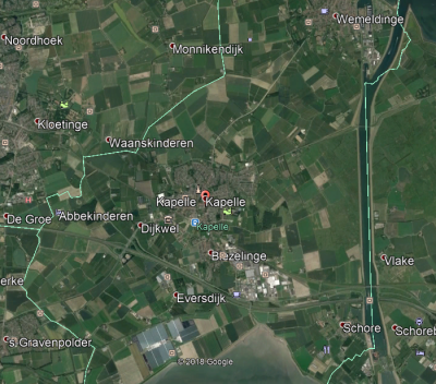Gemeentegrenzen Kapelle - Google Earth