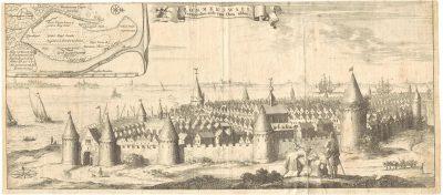 Gezicht op de stad Reimerswaal, vanaf de landzijde, vóór de stormvloed van 1570.