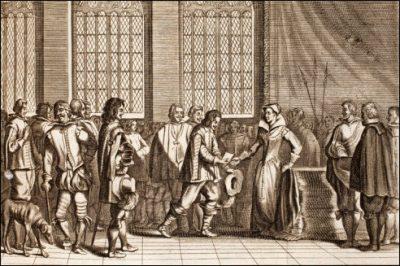 Hendrik van Brederode biedt Margaretha het smeekschrift aan