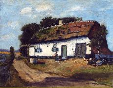 Huisje in Genk omstreeks 1930, Olieverf op doek, Collectie Familie Janssen