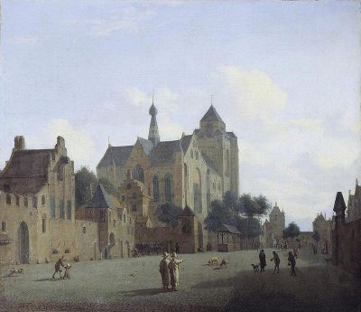 De kerk van Veere, ca 1700 naar een schilderij van Jan van der Heyden