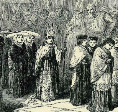 Jongetje als bisschop verkleed