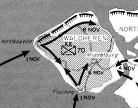 Kaart met het ondergelopen land en de troepenbewegingen van de geallieerden