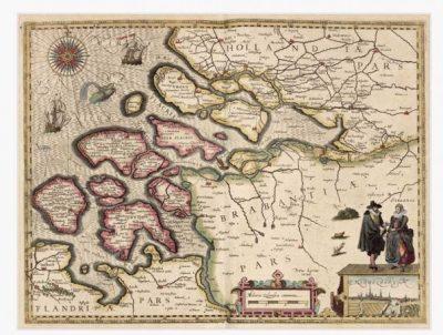 Kaart uit 1617 van Zeeland