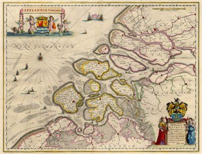 Kaart van Zuid-Beveland in 1643 volgens de kaart van_Blaeu