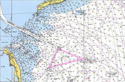 Kaart van de aanloop New York met LORAN positielijnen