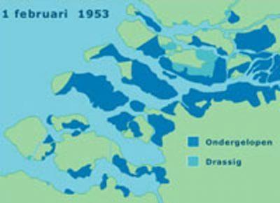 Kaart van de ondergelopen gebieden na de Watersnoodramp