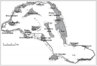 Kaart van de vogelbroedgebieden aan de Grevelingen