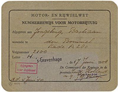 Kentekenbewijs uit 1908