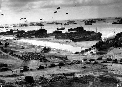 Landingsvoertuigen op Omaha Beach