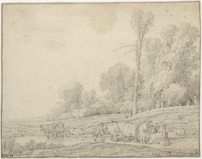 Landschap met koeien, gesigneer en gedateerd 1632