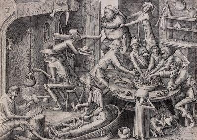 Magere keuken met stokvis, een gravure van Pieter Bruegel