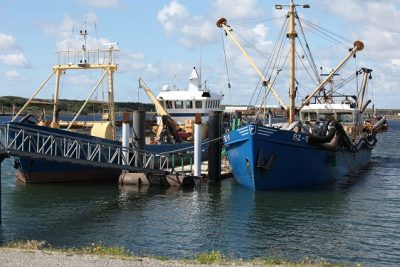 Mesheften vissers. Aan de zijkant is de lange buis te zien met achter de zuigkor. Foto - Ben Biondina, laatzeelandzien.nl