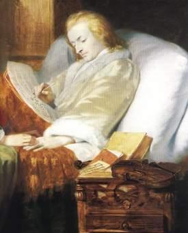 Mozart, op zijn sterfbed, werkend aan het requiem