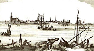 Na 1631 verhuisden de mosselvissers uit Rijmerswaal naar Tholen. Op deze afbeelding van Tholen zijn diverse vissers actief onder andere net fuiken. (N. Visscher Speculum)